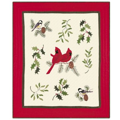Holiday Song Birds Quilted Throw Blanket
