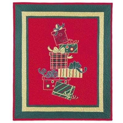 Holiday Gift Box Quilted Throw Blanket