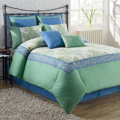 Navy Green Comforter Set