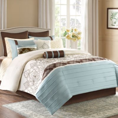 Madison Park Temsia 12-Piece King Comforter Set in Blue/Brown