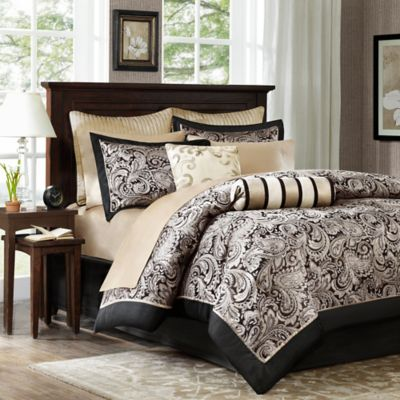 Madison Park Aubrey 12-Piece Reversible Queen Comforter Set in Black/Silver