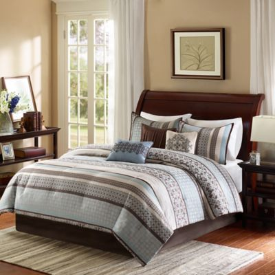Madison Park Princeton 7-Piece King Comforter Set in Blue