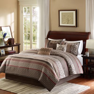 Madison Park Princeton 7-Piece King Comforter Set in Red