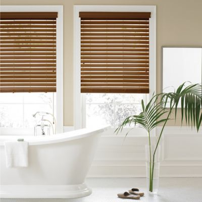 Real Simple® Faux Wood 45.5-Inch x 84-Inch Blind in Chestnut