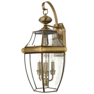 Quoizel Newbury Outdoor Extra-Large Wall Lantern in Antique Brass