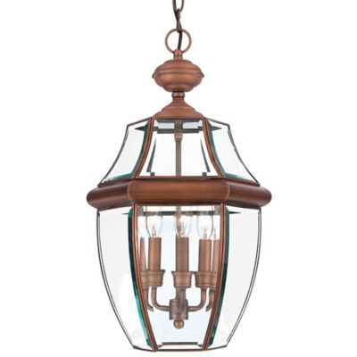 Quoizel Newbury Ceiling Mount Outdoor Large Hanging Lantern in Aged Copper
