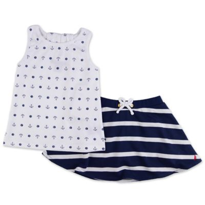 Nautica Kids® Size 24M 3-Piece Anchor Tank, Striped Skirt, and Short Set in White/Navy