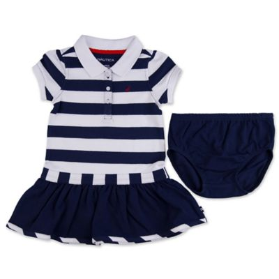 Nautica Kids® Size 12M Pique Polo Dress in Navy Stripe