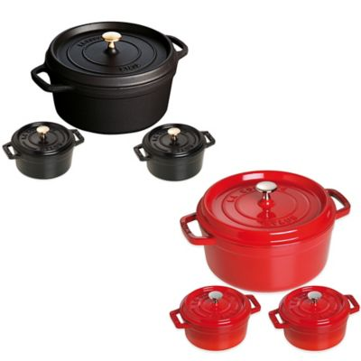 Staub Round Cocotte with 2 Mini-Cocottes in Cherry