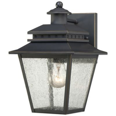 Quoizel Carson Outdoor Small Wall Lantern in Weathered Bronze
