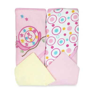 Spasilk® Baby Snail/Dots 4-Piece Terry Hooded Towel and Washcloth Set in Pink