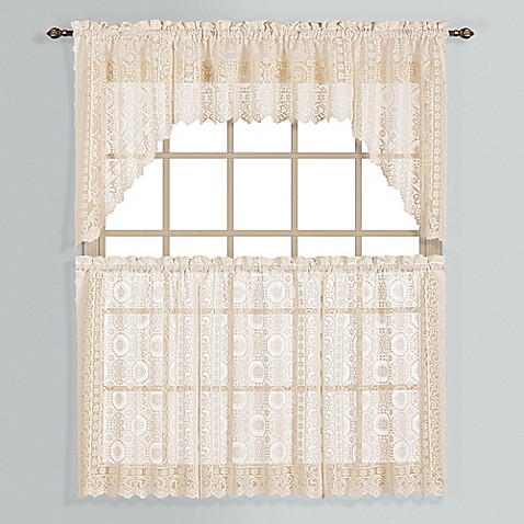 Buy New Rochelle 36 Inch Lace Window Curtain Tier Pair In Natural From Bed Bath Beyond
