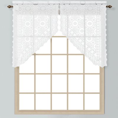 New Rochelle 38-Inch Lace Window Curtain Tier Pair in White