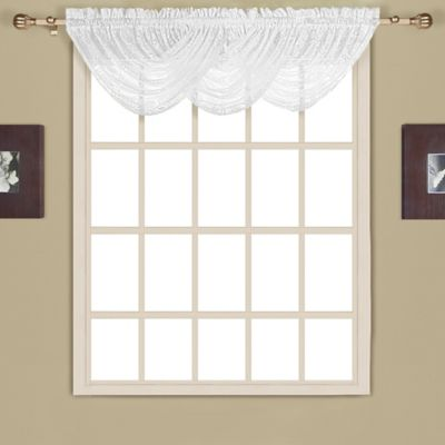 New Rochelle 38-Inch Lace Window Valance in White