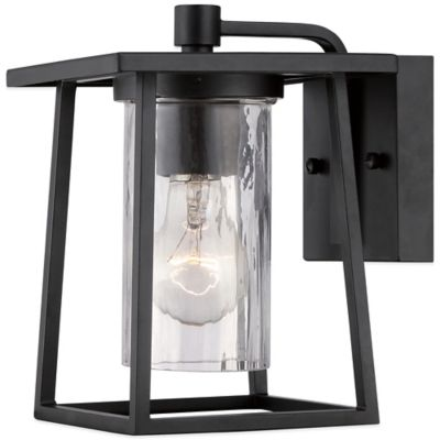 Quoizel Lodge Outdoor Medium Wall Lantern in Mystic Black