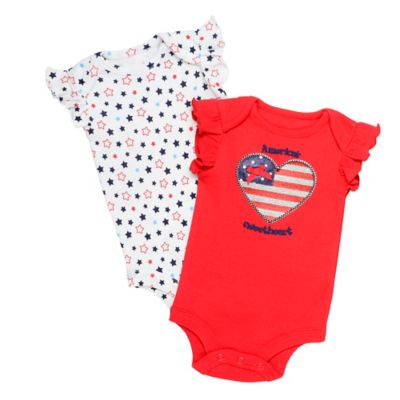 Baby Starters® Size 6M 2-Pack Americana Bodysuits in Red/White