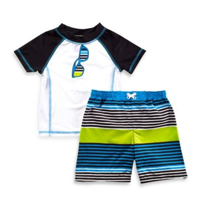 Baby Buns Size 4T 2-Piece Sunglasses Rashguard Set in Blue/Green/White