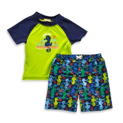 "Baby Buns Size 24M 2-Piece ""Deep Sea Adventure"" Rashguard Set in Green/Navy"