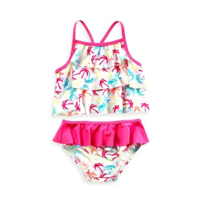Baby Buns Size 12M 2-Piece Ruffle Palm Print Swimsuit in White/Pink