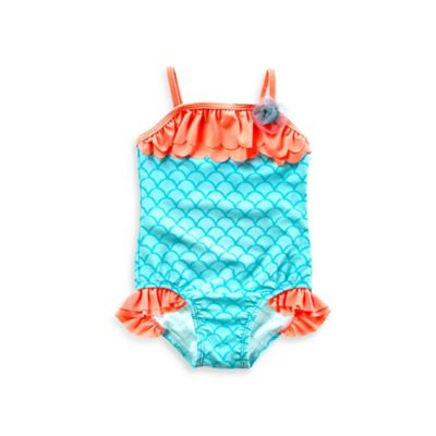 Baby Buns 1-Piece Mermaid Swimsuit in Aqua/Coral