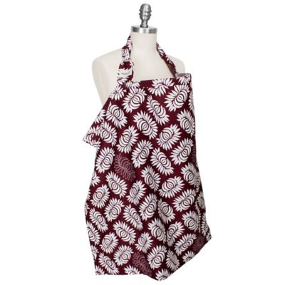 Burgundy White Nursing Cover
