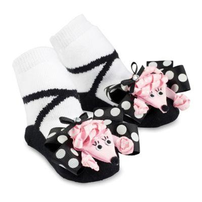 Mud Pie® Poodle Socks in Black/Pink