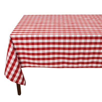 Red Check 90-Inch Round Tablecloth