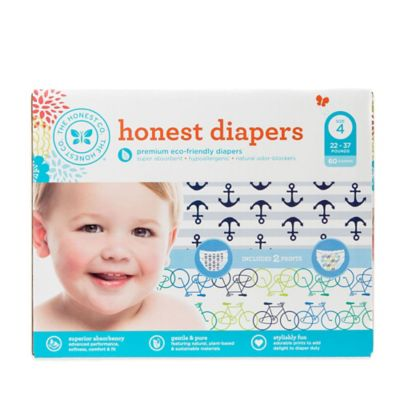 Honest 60-Pack Size 4 Diapers in Anchors/Bicycles Patterns