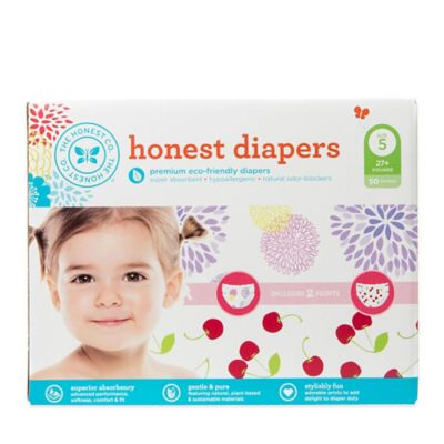 Honest 50-Pack Size 5 Diapers in Bloom/Cherries Patterns