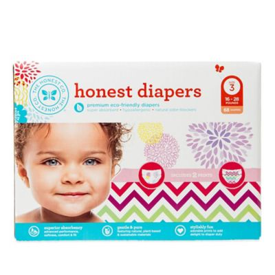 Honest 68-Pack Size 3 Diapers in Bloom/Chevron Patterns