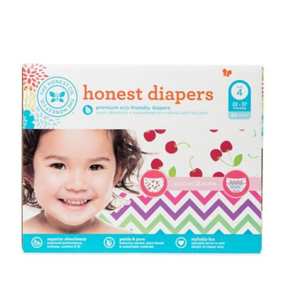 Honest 60-Pack Size 4 Diapers in Chevron/Cherries Patterns