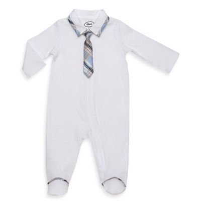 Blume™ Size 9M Footie with Detachable Tie in White/Plaid