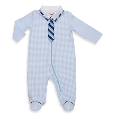 Blume™ Size 6M Footie with Detachable Striped Tie in Light Blue/Navy