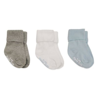 Planet Kids Size 0-6M 3-Pack No-Skid Triple Roll Socks in Grey/White/Light Blue