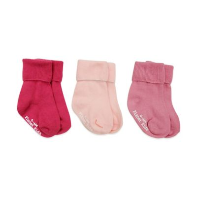 Planet Kids Size 0-6M 3-Pack No-Skid Triple Roll Socks in Fuchsia/Light Pink/Pink
