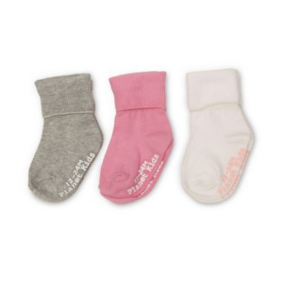Planet Kids Size 6-12M 3-Pack No Skid Triple Roll Socks in White/Pink/Grey