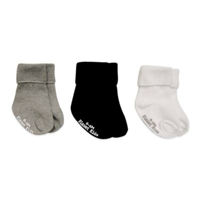 Planet Kids Size 12-24M 3-Pack No-Skid Triple Roll Socks in Grey/Black/White