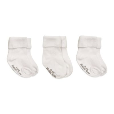 Planet Kids Size 0-6M 3-Pack No-Skid Triple Roll Socks in White