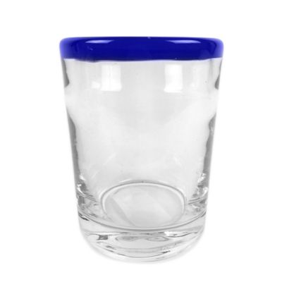 Cobalt Blue Rim Double Old Fashioned Glass