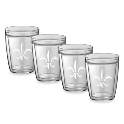 Kraftware™ Double Wall 14 oz. Short Fleur De Lis Glasses (Set of 4)