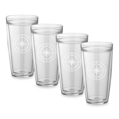 Kraftware™ Double Wall 22 oz. Tall Compass Point Glasses (Set of 4)