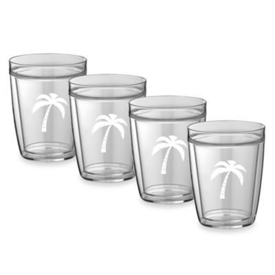 Kraftware™ Double Wall 14 oz. Short Palm Tree Glasses (Set of 4)