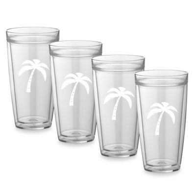 Kraftware™ Double Wall 22 oz. Tall Palm Tree Glasses (Set of 4)