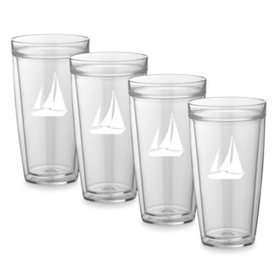 Kraftware™ Double Wall 22 oz. Tall Sail Boat Glasses (Set of 4)