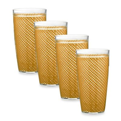 Kraftware™ Fishnet 4-Piece Doublewalled Plastic Highball Glasses in Golden