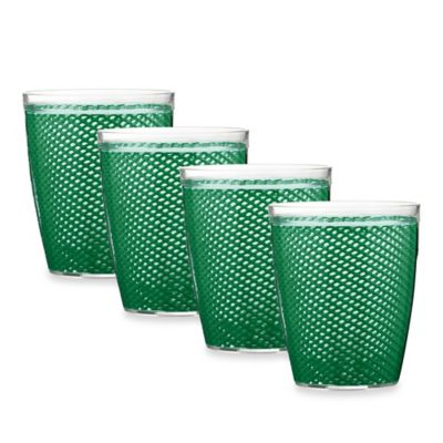 Kraftware Fishnet 4-Piece Doublewalled Plastic Double Old Fashioned Glasses in Emerald