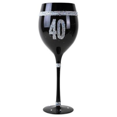 40th Birthday Black Wine Glass