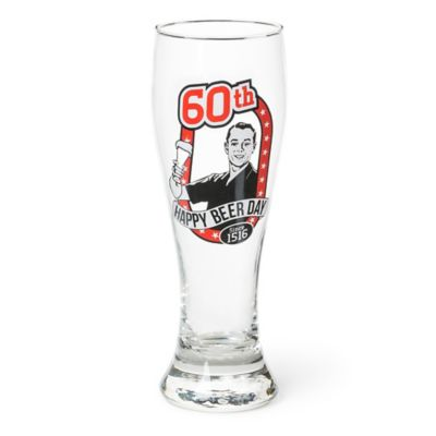 Big Mouth Toys Milestone Happy 60th Birthday Pilsner Glass