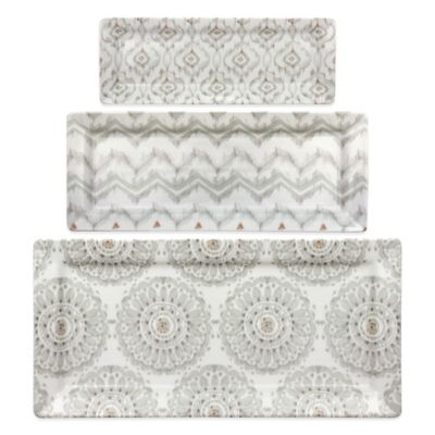 Dena™ Home Jaida Bone 3-Piece Serving Tray Set in White