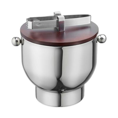 Kraftware™ Forme Stainless Steel 3 qt. Ice Bucket with Tongs and Wood Lid